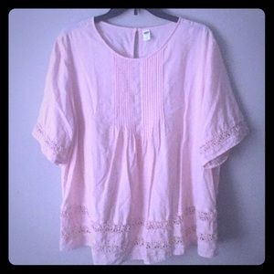 Pink blouse with crochet embellishment
